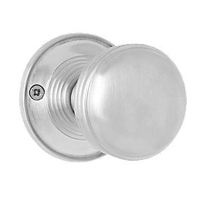 Jedo Ringed Door Knobs Pair Satin Chrome