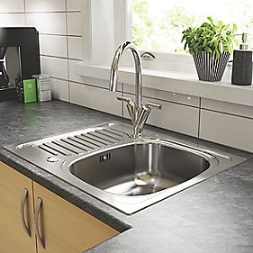 Pyramis Aurora Kitchen Sink Stainless Steel 1 Bowl & Reversible Drainer 620 x 500mm