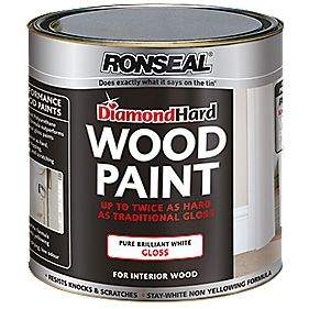 Ronseal Diamond Hard Wood Paint Gloss Pure Brilliant White 750ml