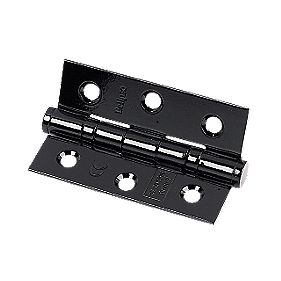 Colour Coated Ball Bearing Hinge Black 76x52x2mm Pack of 2