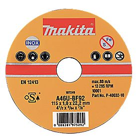 Makita Metal Cutting Discs 115 x 1 x 22.2mm Pack of 10
