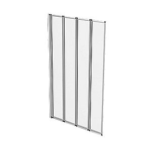 Aqualux Folding Bath Screen Silver / Clear 820 x 1400mm