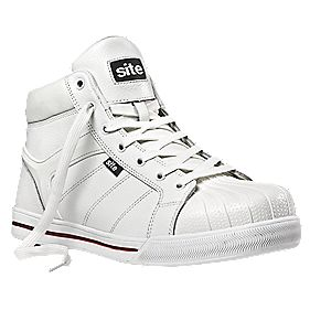 Site Shale Hi-Top Safety Boots White Size 8