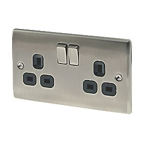 British General 13A 2-Gang DP Switched Plug Socket Brushed Iridium