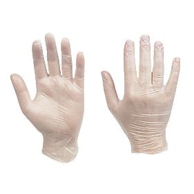 Cleangrip Vinyl Disposable Gloves Clear Medium Pk100