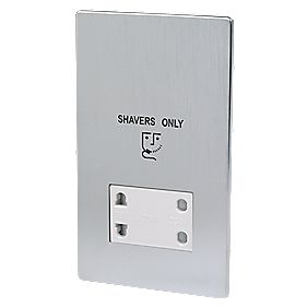 LAP Dual Voltage Shaver Socket 115/230V Brushed Chrome