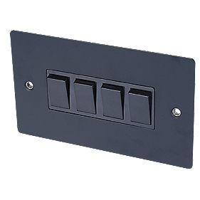 Volex 10A 4-Gang 2-Way Switch Blk Ins Matt Black Flat Plate