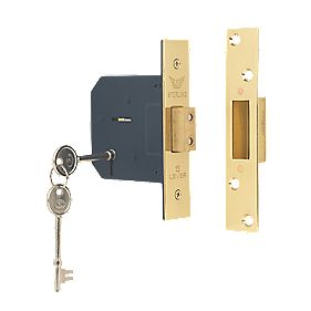 "Sterling 5-Lever Mortice Deadlock Brass 3"" (76mm)"