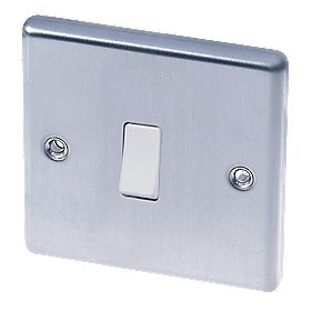 LAP 1-Gang 2-Way 10AX Light Switch Brushed Stainless Steel
