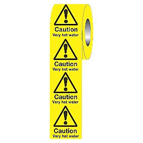 """Caution Very Hot Water"" Adhesive Labels 50 x 50mm Roll of 250"