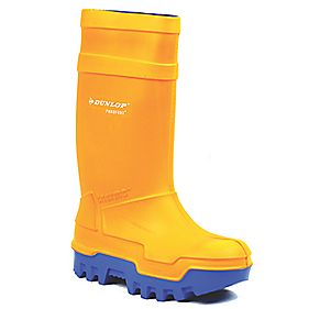 DUNLOP PUROFORT THERMO ORANGE WELLINGTONS SIZE 10