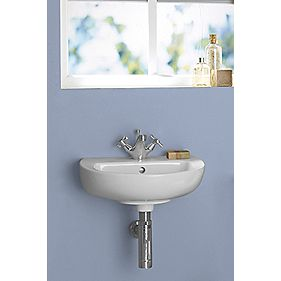 Salcombe Compact Wall-Hung Cloakroom Basin 1 Tap Hole 450mm