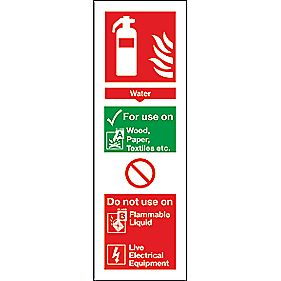 Water Extinguisher ID Signs 280 x 90mm Pack of 100