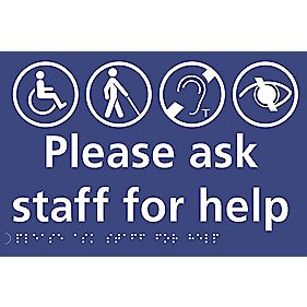 """Please Ask Staff For Help"" Sign 150 x 225mm"