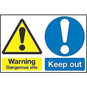 """Dangerous Site / Keep Out"" Sign 400 x 600mm"