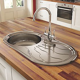 Pyramis Twig Kitchen Sink Stainless Steel 1 Bowl & Reversible Drainer 850 x 450mm