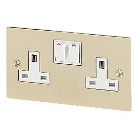Volex 13A 2-Gang DP Switched Socket Wht Ins Brushed Br Flt Plt