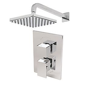 Moretti Quadrata Thermostatic Dual Control Mixer Built-In Chrome