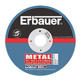 Erbauer Metal Cutting Discs 100 x 2.5 x 16mm Pack of 5