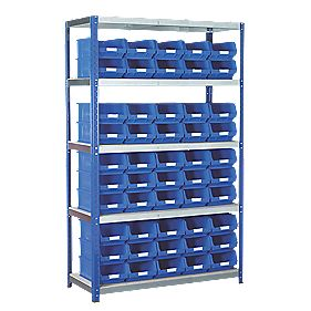 Barton Ecorax Shelving 1200 x 450mm 5 Shelves with 50 x TC4 Blue