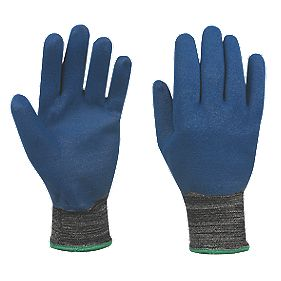 Marigold Industrial Nitrotough N3500 FD Nitrile-Coated Gloves Blue/Black L