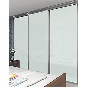 3 Door Sliding Wardrobe Doors Silver Frame White Glass Panel 910 x 2330mm