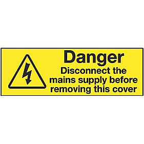 "Electrical ""Danger Disconnect Mains"" Labels 20 x 60mm Pack of 20"