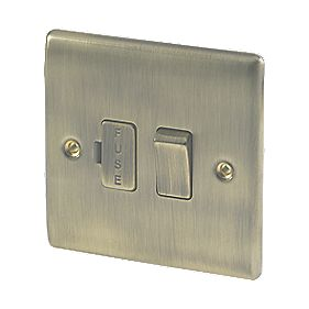 British General 13A 1-Gang Switched Fuse Connection Unit Antique Brass