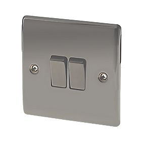 British General 2-Gang 2-Way 10AX Light Switch Black Nickel