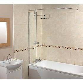 Bath Splash Guard Screen with Rail Semi-Framed Clear 300 x 1500mm