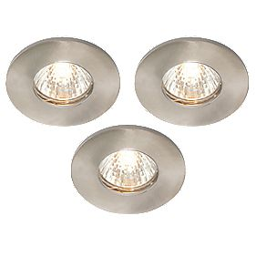 LAP Fixed Brushed Chrome 12V Low Voltage Bathroom Downlight Pack of 3