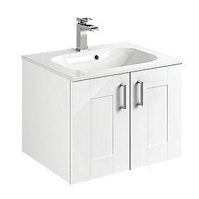 Bathroom Double Base Vanity Unit & Basin White 600 x 495 x 440mm