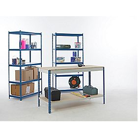 Workshop Workbench & 2-Bay Shelving Starter Kit Blue & White x x mm