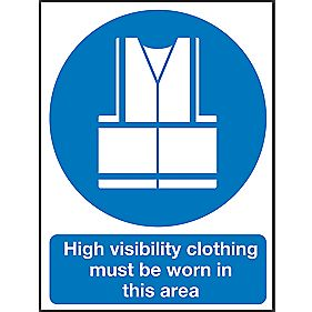 """Hi-Visibility Clothing Must Be Worn In This Area"" Sign 400 x 300mm"