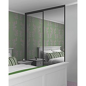 Sliding Wardrobe Doors Black Frame Mirror Panel 2-Door 1485 x 2330mm