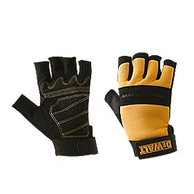 DeWalt Performance 4 Fingerless Gloves Black Yellow Large