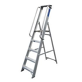 Lyte Heavy Duty Aluminium Platform Ladder & Safety Handrails 5-Tread 1.68m