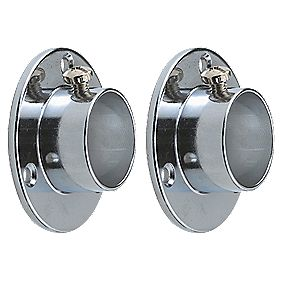 Rothley Colorail Wardrobe Rail End Supports Polished Chrome 25mm Pack of 2