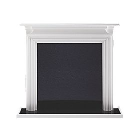 Wintherbrowne Ludlow Traditional Fire Surround Set Satin White & Black