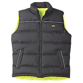 "Site Reversible Hi-Vis Body Warmer Yellow / Black Large 54"" Chest"