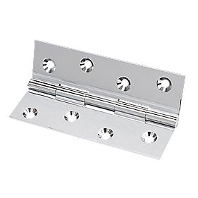 Solid Drawn Brass Hinge Polished Chrome 102 x 60mm Pack of 10