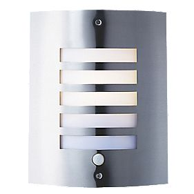 New York Brushed Stainless Steel Wall Light with PIR 60W