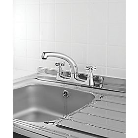 Swirl Quadra Deck Sink Mixer Kitchen Tap Chrome