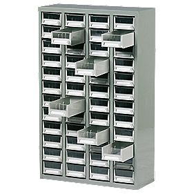 Steel Drawer Cabinet with 48 Bin Trays 586 x 222 x 937mm