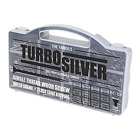 Turbo Silver Woodscrews Handy Pack Double-Self-Countersunk Pack of 350