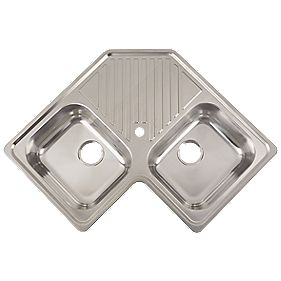 Stainless Steel 2 Bowl Corner Inset Kitchen Sink with Drainer