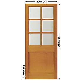 Jeld-Wen Hatfield 6-Light Double-Glazed Exterior Door Unfinished Meranti Veneer 762 x 1981mm