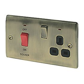 British General 45A DP Cooker Switch/13A Switched Socket with LED Ant. Brs