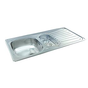 Carron Phoenix Kitchen Sink S/Steel 1½ Bowl Reversible Drainer 965 x 500mm
