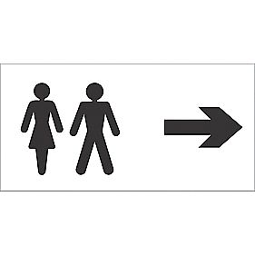 Toilets Symbol Right Arrow Sign 150 x 300mm